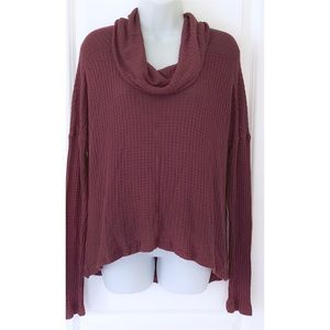 Lucky Brand Burgundy Cowl Neck Thermal Sweater